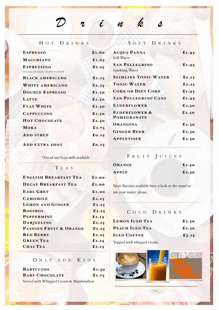 italian coffee shop in Tewkesbury caffee e vino. Drinks menu